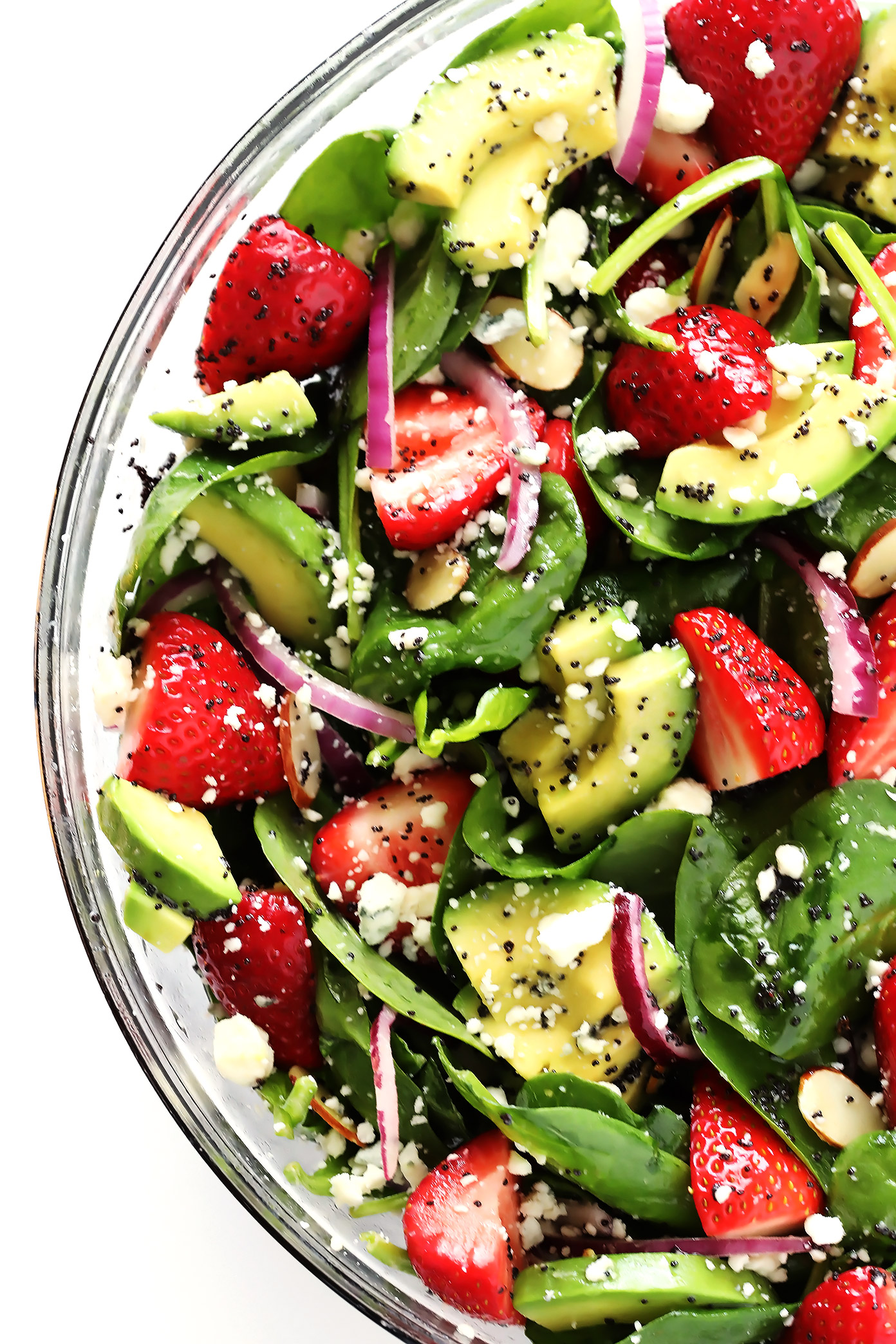 Avocado Strawberry Spinach Salad With Poppyseed