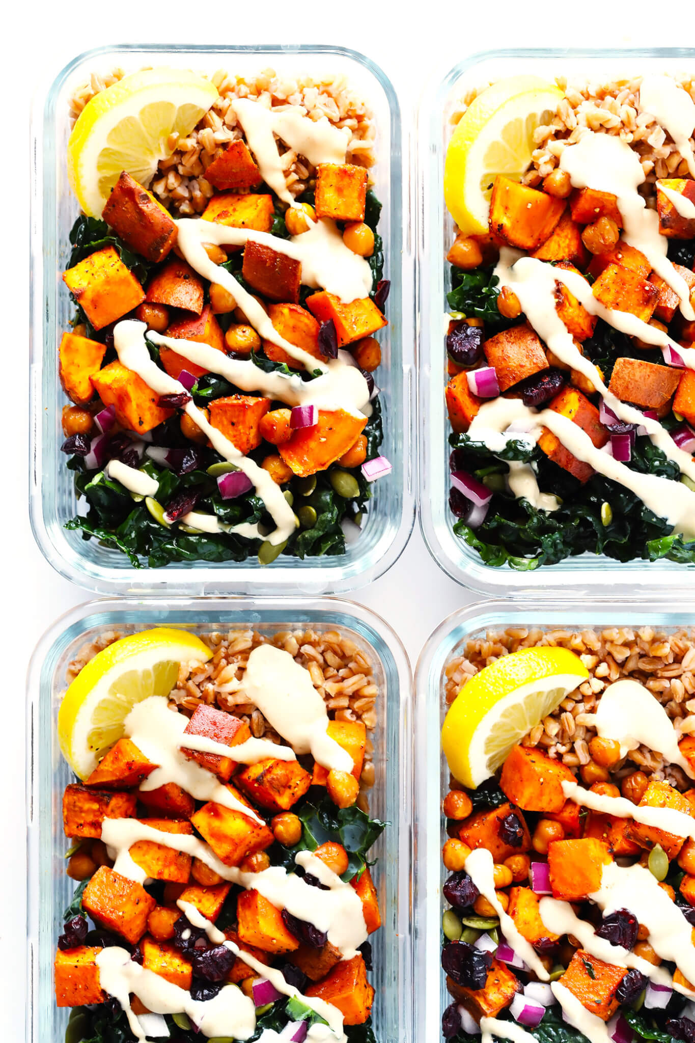Roasted Sweet Potato Chickpea And Kale Salad Bowls Gimme Some Oven